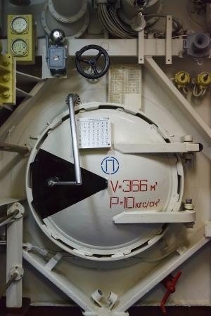 watertight: Round bulkhead door on a submarine photo