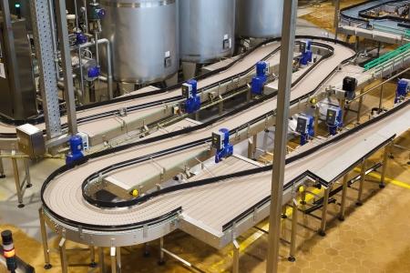 Brewery, conveyor, top view photo