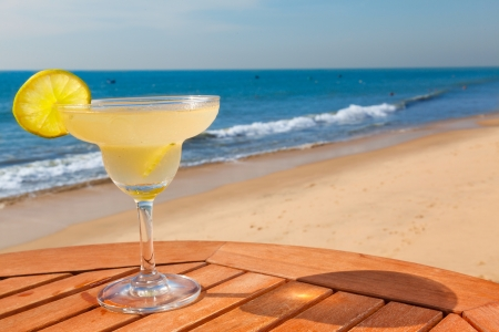 daiquiri cocktail with ice on the table against the background of sea and sky Stock fotó