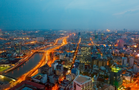 Saigon panorama of the city at night photo