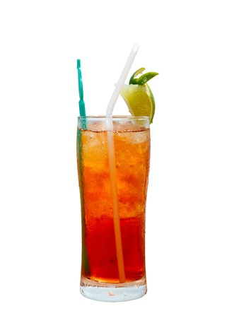 Americano cocktail with ice on the table isolated on white background Stock Photo