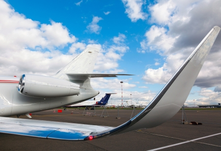 private parts: wing and white reactive private jet photo