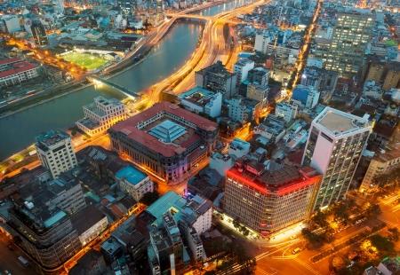 vietnam: Saigon panorama of the city at night Editorial