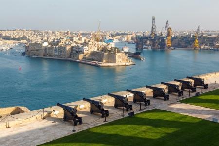 Saluting battery and Grand Harbor of Valletta, Malta Editorial