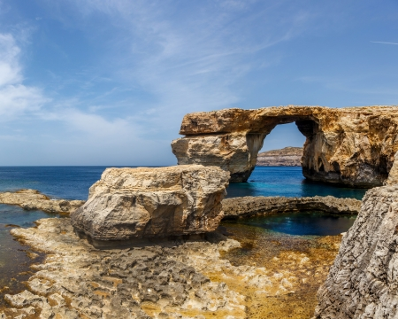 Azure Window, famous stone arch of Gozo island in the sun in summer, Malta photo