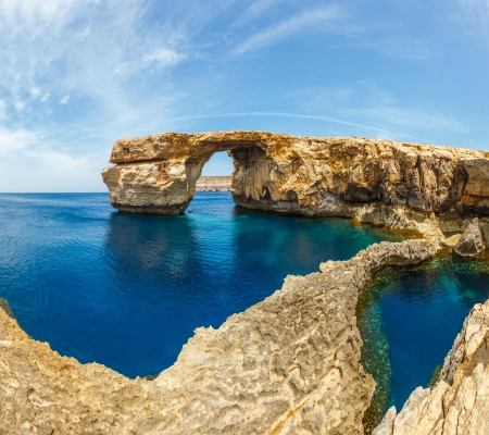 Azure Window, famous stone arch of Gozo island in the sun in summer, Malta Stock fotó