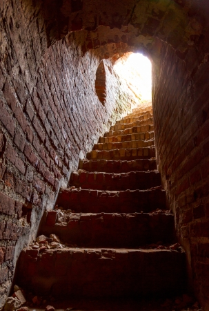 stone corridor with stairway in ancient tower of the Kremlin, interior, Smolensk, Orel tower 2013 Stock Photo - 21183903