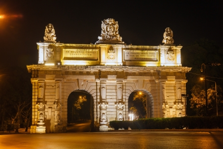 Floriana Gate to Valletta in  night. Malta photo