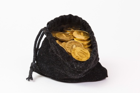 Money coins in bag on white background photo