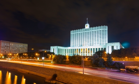 White House of the Russian government in Moscow at night photo