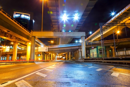 City Road overpass at night with lights photo