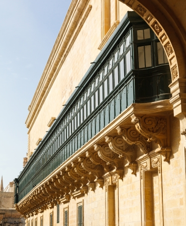 arch and balconies, the national Maltese architecture. Valletta Malta 2013