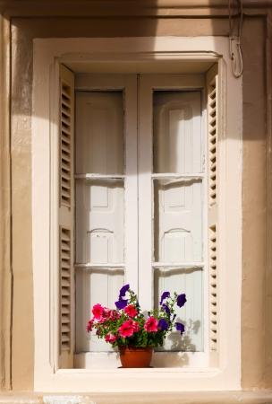 red geraniums on the window. Malta 2013 Stock Photo - 21782170