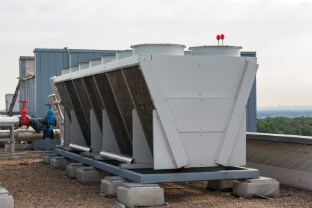 chiller: Industrial air conditioner on the roof Stock Photo