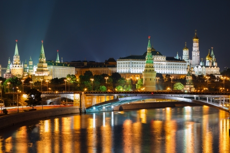 moskva river: Moscow Kremlin night view from the waterfront