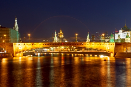 cupolas: Moscow Kremlin night view from the waterfront