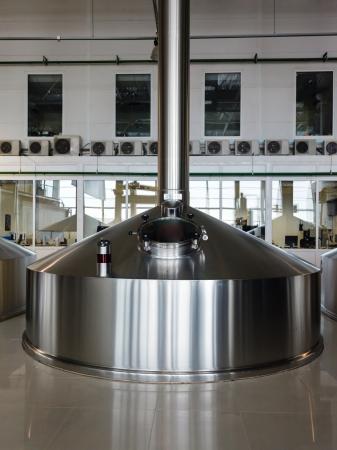 vats: Steel fermentation vats on brewer factory