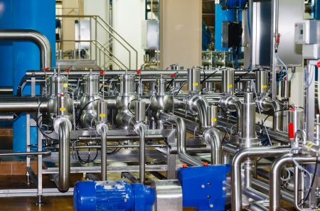 pipes, tanks for the food industry Stock Photo