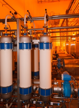 pipes, filters, tanks for the food industry Stock Photo