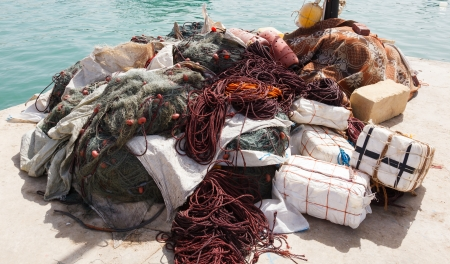 Close up view of fishing net photo