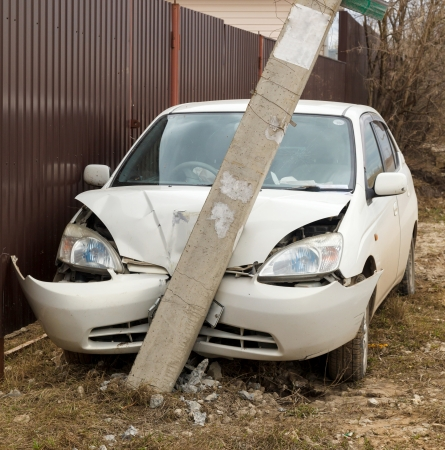 car wreck: car accident, the car crashed into a pole
