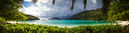 Seascape view with white sand, Seychelles, Mahe island