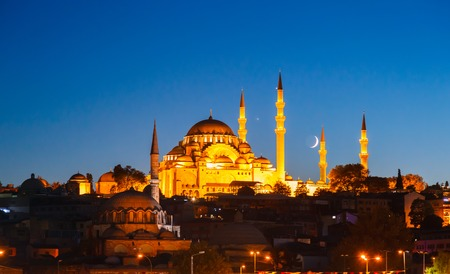 fatih: Fatih Mosque in Istanbul, with beautiful sunset in background