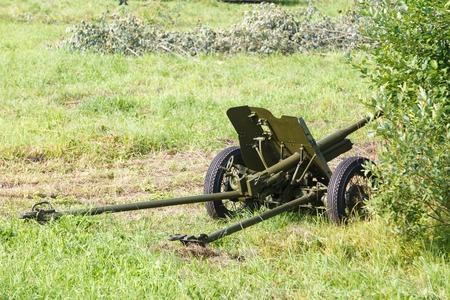 reenacting: disguised Soviet field gun 45mm on a green field