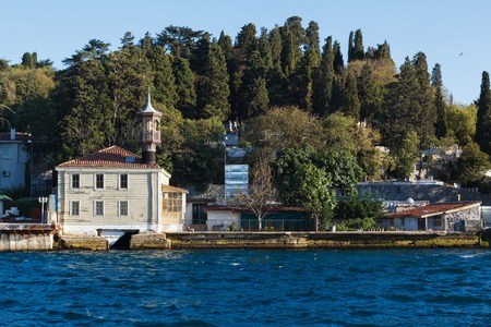 waterside: Traditional and modern mansions on the Bosporus Strait waterside, Turkey Istanbul Stock Photo