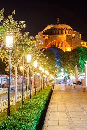 aya: Hagia Sophia and the alley with lanterns in Sultanahmet Square at night
