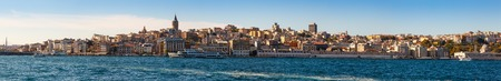 panorama of old districts Istanbul (Karakoy, Galata) from the Bosphorus on a sunny day on background blue sky