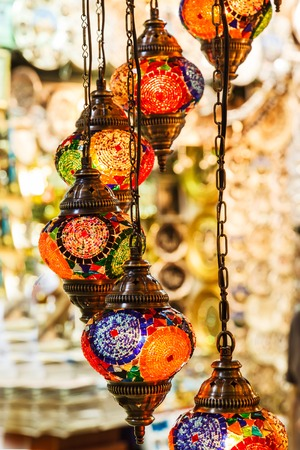Traditional vintage Turkish lamps in the Grand bazaar in Istanbul Stock fotó