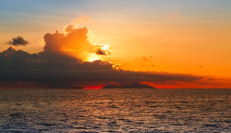 tempest: Sunset over the Sea, the Indian Ocean Seychelles Stock Photo