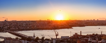 Panorama of Golden Horn Gulf in Istanbul at sunset, Turkey photo