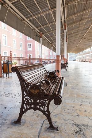bench on Sirkeci railway station near center of Istanbul, Turkey Stock Photo - 28862288