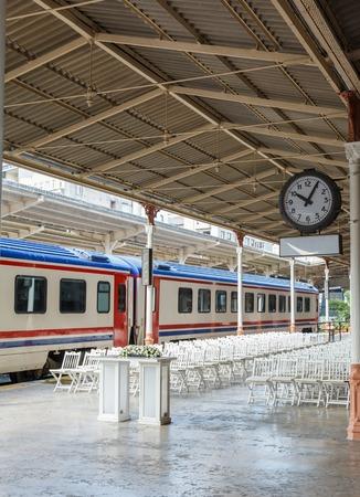 peron: train on Sirkeci railway station near center of Istanbul, Turkey