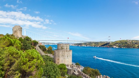 hisari: Rumelihisari fortress on a  blue sky in Istanbul, Turkey
