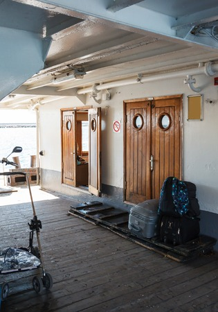 seaway: interior parts of the old Istanbul ferry Editorial