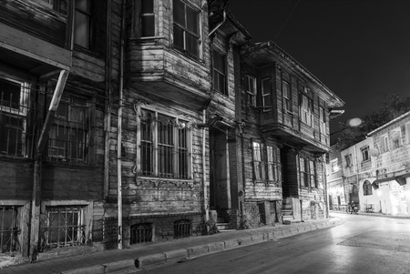 Turkey. Istanbul. The old wooden house on a narrow street in area Sultanahmet, black and white