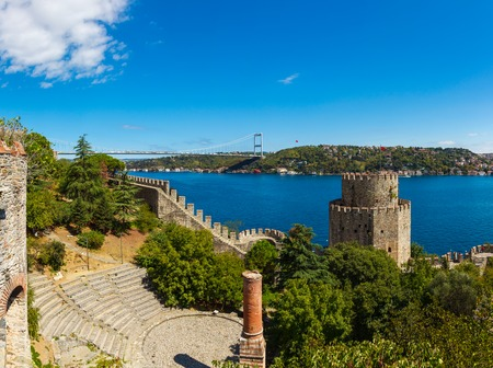 hisari: Rumelihisari fortress on a background of blue sky in Istanbul, Turkey Editorial