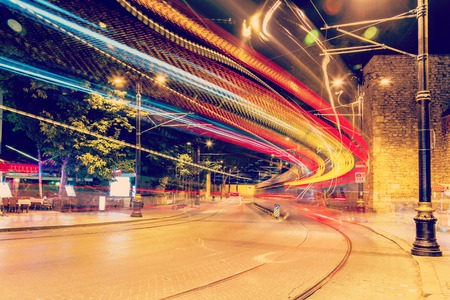 istanbul night: public transport metropolis, traffic and blurry lights tram at night, Istanbul, Turkey Stock Photo