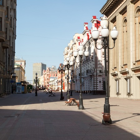 Old Arbat early summer morning, Moscow Russia