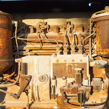 diesel: Old rusty vintage diesel engine parts closeup