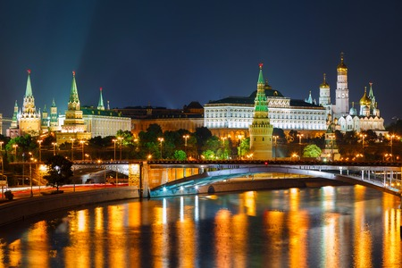 Moscow Kremlin night view from the waterfront photo