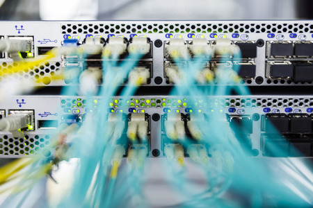 Optical switch and colorfull FC cables connected equipment in data center photo