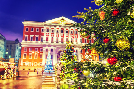 Christmas tree with balls on the background architecture of Moscow Tverskaya Square and the building of Municipality photo
