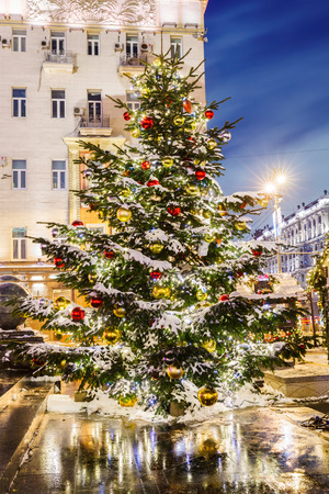 Christmas tree with balls on the background architecture of Moscow. Tverskaya Square photo