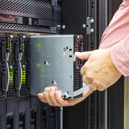 chassis: replacement of faulty blade server in chassis, the platform virtualization in the data center server rack Stock Photo