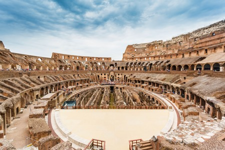 panorama from inside of Colosseum in Rome, Italy Stock Photo