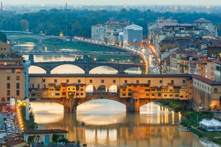 Houses, Arno River and bridges Ponte Vecchio of Florence, Tuscany, Italy Stock fotó